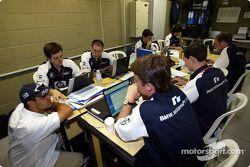 Хуан-Пабло Монтойя на совещании с инженерами Williams-BMW