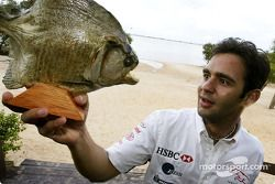 Antonio Pizzonia re-visits his home town ve comes face to face ve Pirahna fish Manaus