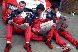 Yvan Muller, Paul O'Neill and James Thompson read the Telegraph