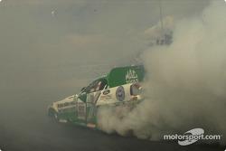 John Force lost in the smoke