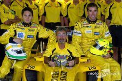 Eddie Jordan, Giancarlo Fisichella, Ralph Firman and the team celebrates Team Jordan 200th Grand Prix