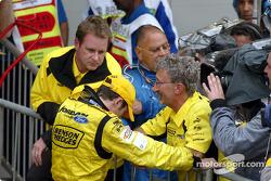 Giancarlo Fisichella y Eddie Jordan creen que han ganado el Gran Premio de Brasil