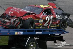 Wrecked car of Ricky Rudd