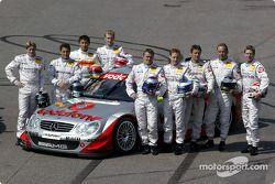 The 2003 DTM Mercedes-Benz drivers: Bernd Schneider, Jean Alesi, Marcel Fassler, Uwe Alzen, Thomas Jäger, Bernd Mayländer, Katsutomo Kaneishi, Christijan Albers and Stefan Mücke