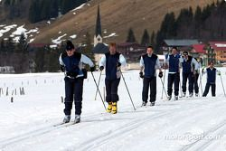 Abt and Audi drivers during cross country skiing