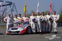 The 2003 DTM Mercedes-Benz drivers: Bernd Schneider, Jean Alesi, Marcel Fassler, Uwe Alzen, Thomas J