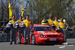 The 2003 DTM Opel drivers: Manuel Reuter, Alain Menu, Joachim Winkelhock, Jeroen Bleekemolen, Timo S