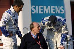 Frank Williams con Juan Pablo Montoya y Ralf Schumacher