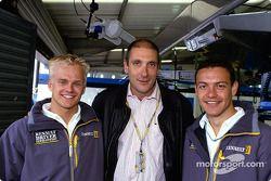 Heikki Kovalainen and Fabio Carbone with Bruno Michel
