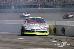 Chad Blount spins on pitlane