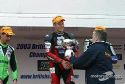 The podium: race winner Shane Byrne, Michael Rutter and Glen Richards