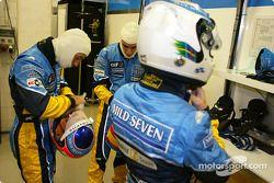 Jarno Trulli, Fernando Alonso y Allan McNish