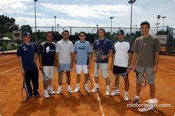 Torneo de tenis de caridad en la Academia Sanchez-Casal en Barcelona: Nick Heidfeld, Montoya, Antoni