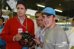 Fernando Alonso con el campeón ciclista Miguel Indurain