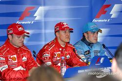 Conferencia de prensa: ganador de la pole de Michael Schumacher con Rubens Barrichello y Fernando Al