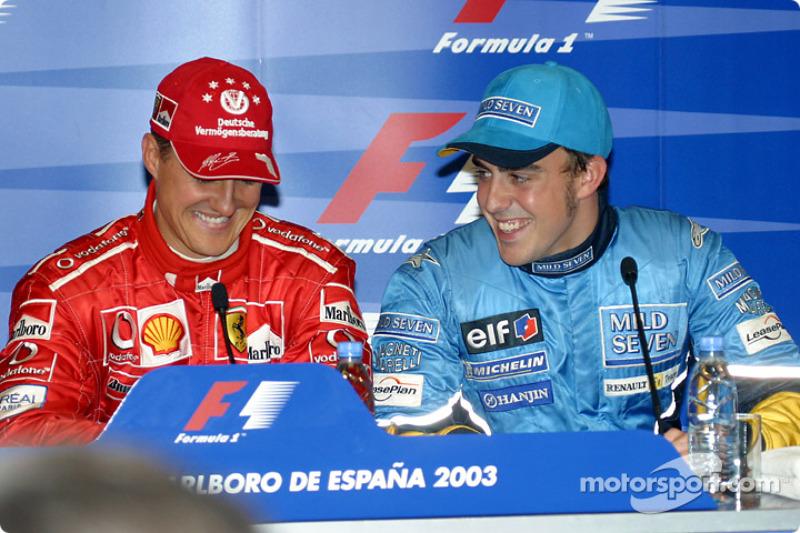 Conferencia de prensa: ganador de la pole de Michael Schumacher con Fernando Alonso