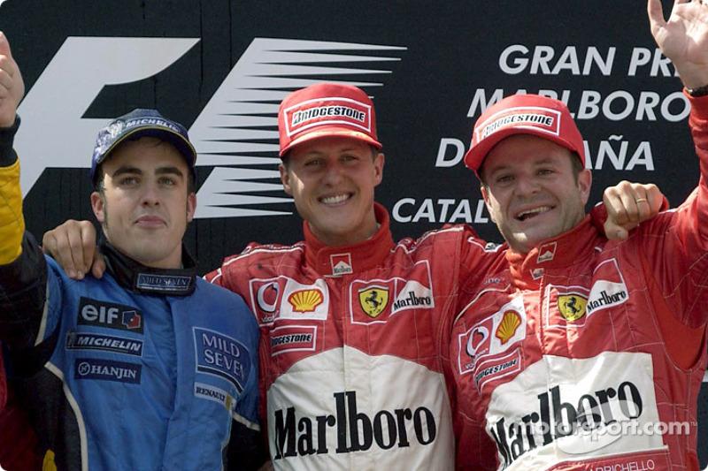 2003: 1. Michael Schumacher, 2. Fernando Alonso, 3. Rubens Barrichello