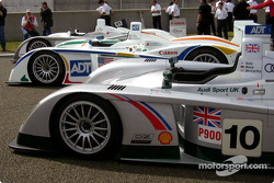 The Audi teams for the 2003 Le Mans 24 Hour race: Audi Sport Japan Team Goh, Team ADT Champion Racing and Audi Sport UK