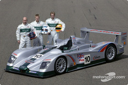 The drivers of Audi Sport UK for the Le Mans 24 Hour race: Perry McCarthy, Mika Salo and Frank Biela