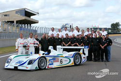 Team ADT/Champion Racing pose on the front straight prior to the Le Mans Tests