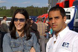 Juan Pablo Montoya con su esposa Connie