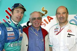 Nick Heidfeld and Peter Sauber with a guest