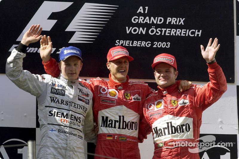 2003: 1. Michael Schumacher, 2. Kimi Räikkönen, 3. Rubens Barrichello