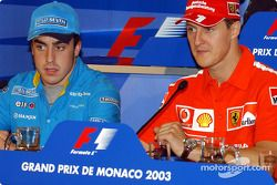 Rueda de prensa del miércoles de la FIA: Fernando Alonso y Michael Schumacher.