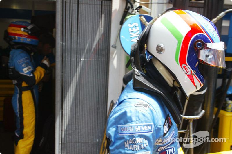 Fernando Alonso et Jarno Trulli se préparent