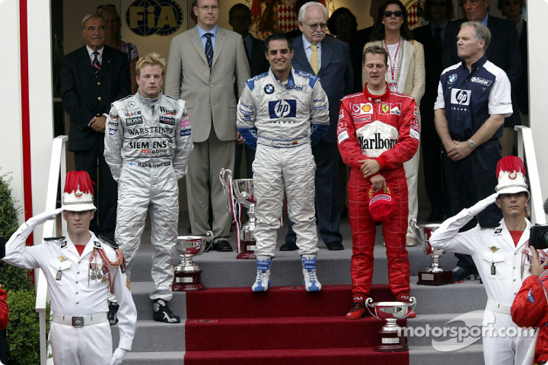 2003: 1. Juan Pablo Montoya, 2. Kimi Räikkönen, 3. Michael Schumacher