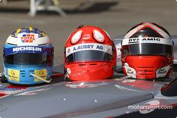 Team presentation: helmets of David Saelens, Benjamin Leuenberger, Scott Maxwell