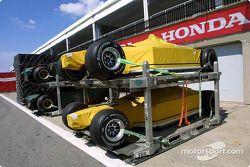 Cars arrive at Circuit Gilles-Villeneuve