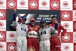 Podio: ganador de la carrera Michael Schumacher, segundo lugar Ralf Schumacher y el tercer lugar Jua