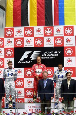 The podium: race winner Michael Schumacher, Ralf Schumacher and Juan Pablo Montoya