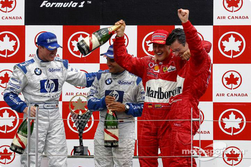 Podyum: Yarış galibi Michael Schumacher, Ralf Schumacher ve Juan Pablo Montoya