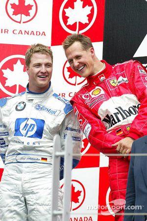 The podium: race winner Michael Schumacher and Ralf Schumacher