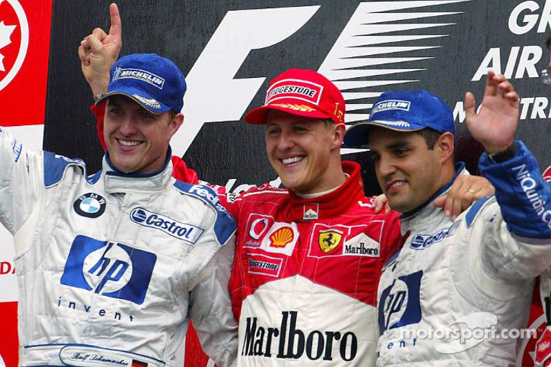 Podio: il vincitore Michael Schumacher, Ralf Schumacher e Juan Pablo Montoya