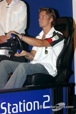 Jenson Button tries PlayStation 2