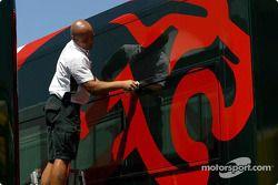 Jaguar team member prepares the transporter