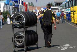 Jordan team member with tires