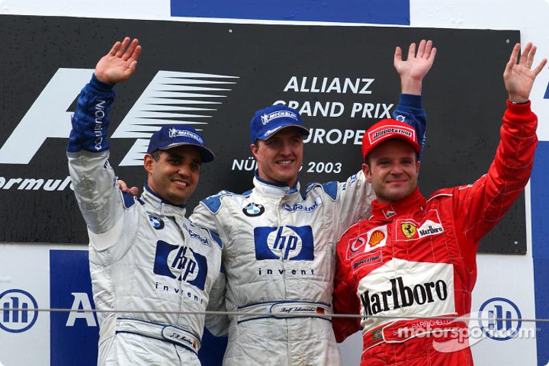 Podyum: Yarış galibi Ralf Schumacher, Juan Pablo Montoya ve Rubens Barrichello