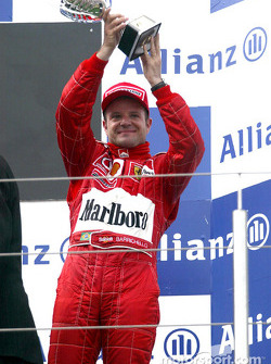 The podium: Rubens Barrichello