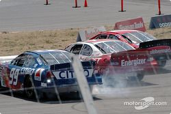 Kurt Busch, Scott Pruett and Jeff Burton spin
