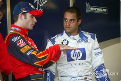 Jeff Gordon, left, and Juan Pablo Montoya talk shop