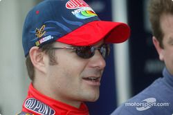 Juan Pablo Montoya at speed in a NASCAR Winston Cup car at Indy