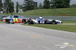 Juan Pablo Montoya, left, and Jeff Gordon side by side