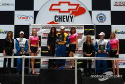 Podium: race winner Bill Auberlen with Jeff Altenburg and Shauna Marinus