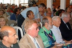 Le Mans awards ceremony: the crowd, with Don Panoz, Henri Pescarolo and Paul Frère in the first row