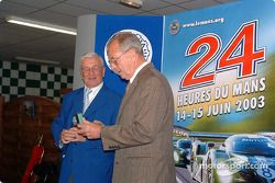 Le Mans awards ceremony: Michel Cosson presents Phil Hill with the Spirit of Le Mans award
