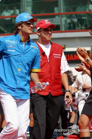 Parade des pilotes: Jarno Trulli et Olivier Panis
